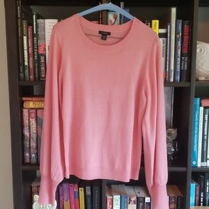 Rose pink, blouson sleeve sweater, size M